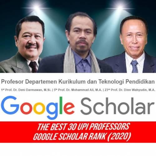 Profesor Departemen Kurikulum dan Teknologi Rangking 1 UPI menurut Perangkingan Google Scholar