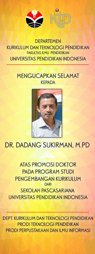 SELAMAT PA DR. DADANG SUKIRMAN, M.PD